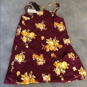 Burgundy Yellow Floral Dress
